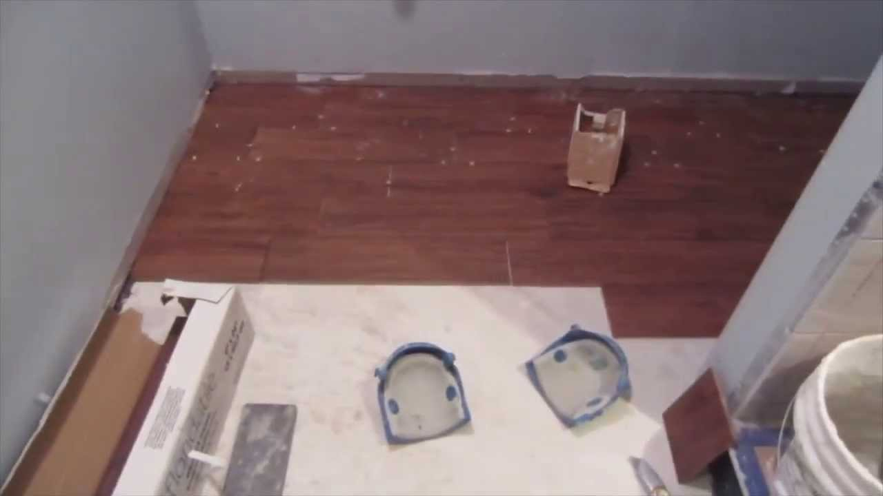 how to install wood look tile on concrete