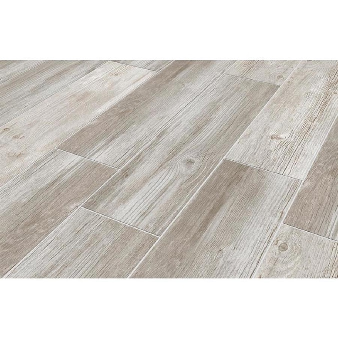 style selections woods vintage gray 6 in x 24 in glazed porcelain wood look floor tile